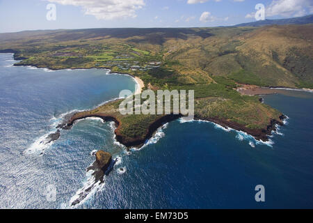 Hawaii, Lanai, Aerial View Of Pu'u Pehe, Sweetheart Rock. - Stock Photo