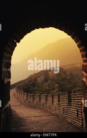 China, Great Wall Of China seen from inside tower; Mu Tian Yu - Stock Photo