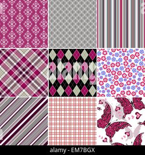 Set seamless colorful vintage pattern - Stock Photo