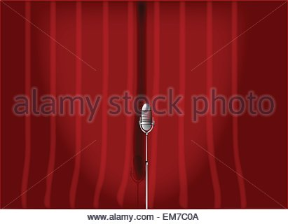 Red Stage Curtain. - Stock Photo