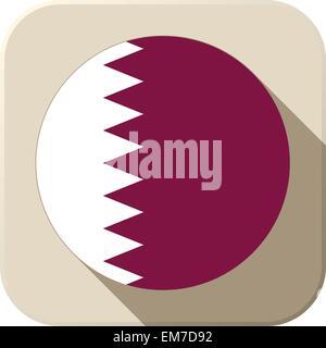 Qatar Flag Button Icon Modern - Stock Photo