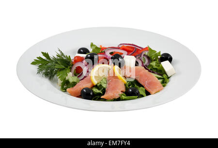Salmon salad, olives, cheeses and vegetables on an isolated background - Stock Photo