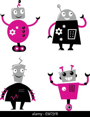 Cute retro robots set isolated on white ( pink and black ) - Stock Photo