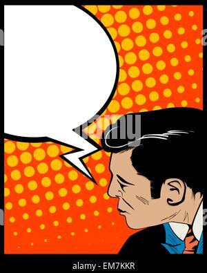 Speech bubble pop art man - Stock Photo