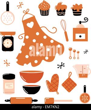 Baking icons or accessories set isolated on white ( orange ) - Stock Photo