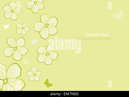 Flowers and butterflies. Vector background - Stock Photo