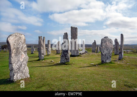 Standing stone circle at Callanish, Isle of Lewis, Outer Hebrides, Scotland - Stock Photo