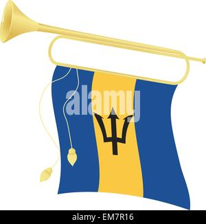 Vector illustration bugle with a flag Barbados - Stock Photo