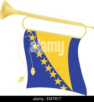 Vector illustration bugle with a flag Bosnia and Herzegovina - Stock Photo