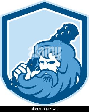 Hercules Wielding Club Shield Retro - Stock Photo