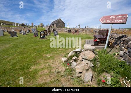 Cille Bharra, ancient graveyard on the Isle of Barra, Scotland - Stock Photo