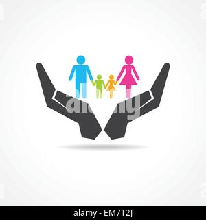 secure or save family under hand concept - Stock Photo