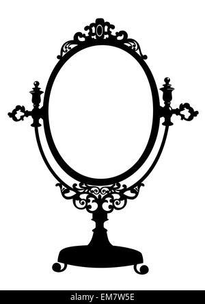 Silhouette of antique makeup mirror - Stock Photo
