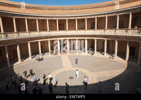 Courtyard inside the Palacio de Carlos V, Palace of Charles V, Alhambra complex, Granada, Spain - Stock Photo