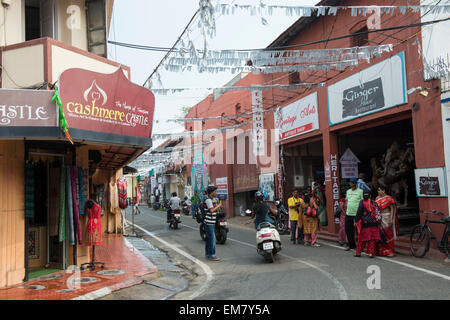 Jew Town in Fort Kochi, Kerala India - Stock Photo