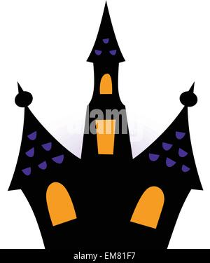 Halloween haunted house silhouette isolated on white - Stock Photo