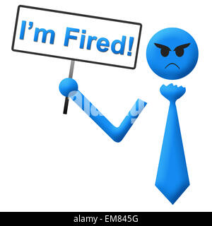 I Am Fired Man With Signboard - Stock Photo