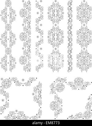 Set of vector borders, decorative floral elements for design. Pa - Stock Photo