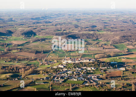 Aerial view of Tournon d'Agenais in the Lot et Garonne in France - Stock Photo