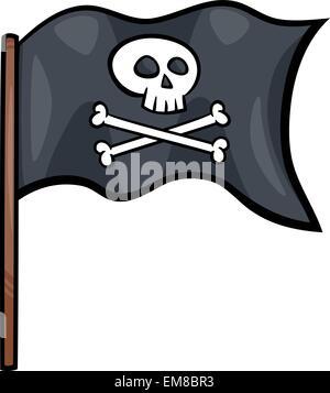 pirate flag cartoon clip art - Stock Photo