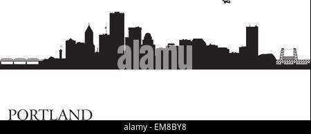 Portland city skyline silhouette background - Stock Photo