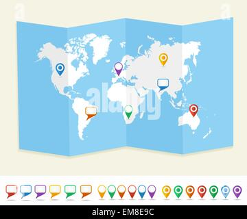 World map GPS location pins travel concept EPS10 vector file. - Stock Photo