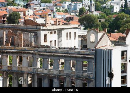 Bombed Out Building, Mostar, Herzegovina-Neretva, Bosnia And Herzegovina - Stock Photo