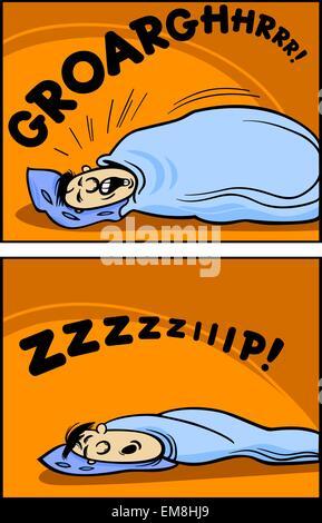 snoring man cartoon comic illustration stock photo