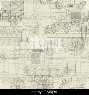 Seamless pattern vehicles design - Stock Photo