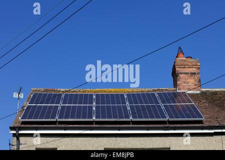 solar panels on roof in Catterick Village, North Yorkshire - Stock Photo