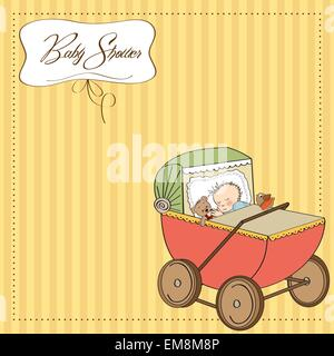 baby boy shower card with retro strolller - Stock Photo
