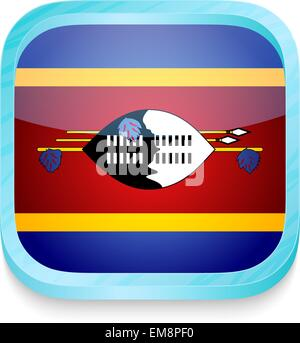 Smart phone button with Swaziland flag - Stock Photo