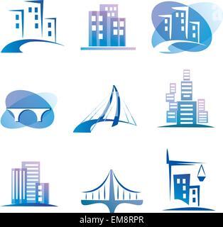 city vector icons set, construction concept - Stock Photo