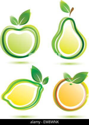 green fruits vector icons set, bio food concept - Stock Photo