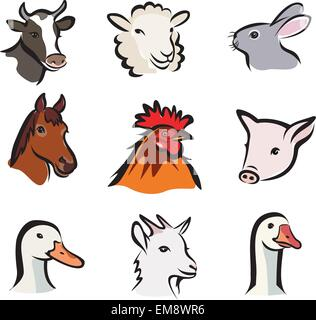 farm animals, set of vector icons, isolated portraits - Stock Photo