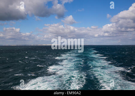 View of ship's wake from cross channel ferry between Dover and Dunkirk - Stock Photo