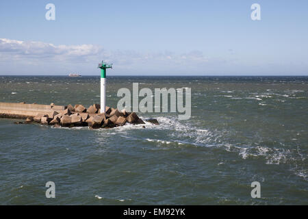 View of Dunkirk harbour from cross channel ferry between Dover and Dunkirk - Stock Photo