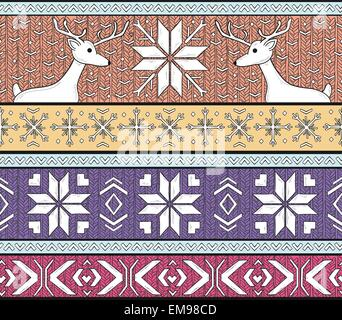 Hand drawn seamless knitted background in fair Isle style with deers and snowflakes - Stock Photo