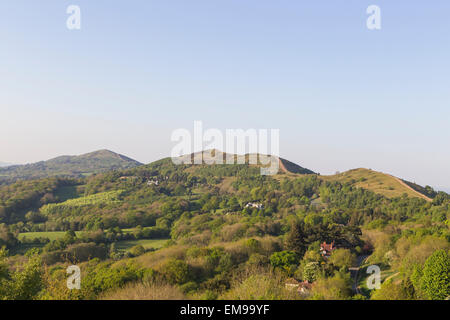 View of Malvern Hills with Worcestershire Beacon in distance taken from the British Camp - Stock Photo