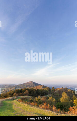 View from central section Jubilee Hill of Malvern HIlls overlooking Worcestershire Beacon in the distance - Stock Photo