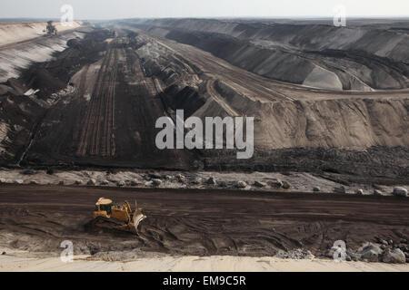 Open-pit coal mining Cottbus Nord near Cottbus, Lower Lusatia, Brandenburg, Germany. Huge open-pit coal mining by - Stock Photo