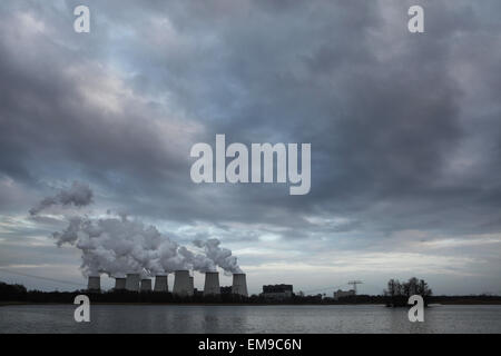 Janschwalde Power Station near Cottbus in Lower Lusatia, Brandenburg, Germany. The power station fires raw brown - Stock Photo