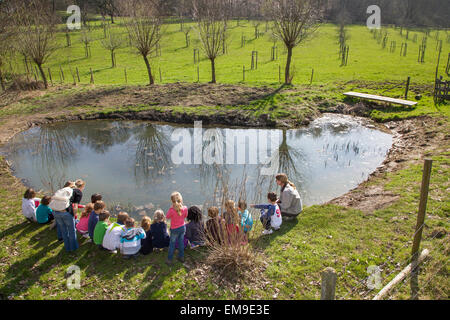 School children with teachers looking at frogspawn in old watering place for cattle, habitat for amphibians like - Stock Photo