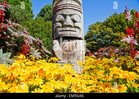 Kwakiutl Totem Pole, Carved By Mungo Martin With Henry Hunt & David Martin By The Maritime Museum, Vancouver, BC, - Stock Photo