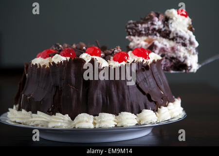Chocolate cake with cream and cherries, being served. - Stock Photo