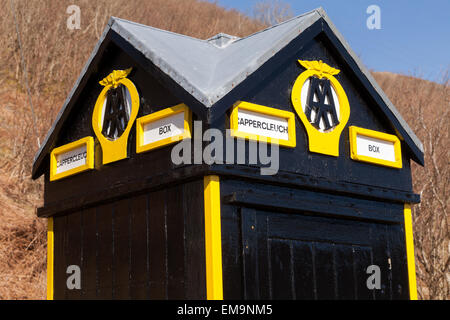 Old fashioned AA box in yellow and black livery, on the A708 next to the Yarrow Water river, Moffat, Dumfries and - Stock Photo