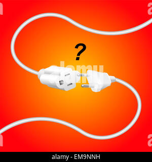 Improper extension cable and plug - they are not compatible. - Stock Photo
