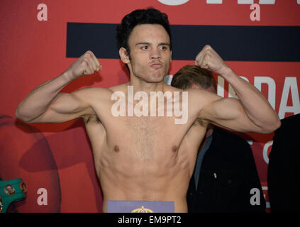 April 17.2015. Los Angeles CA. Julio Cesar Chavez Jr. of Cullacan Mexico weighs in at 171.5 pounds for his upcoming - Stock Photo