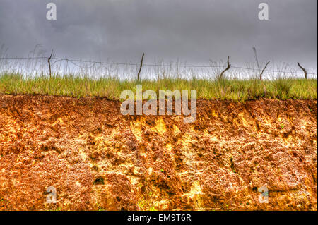 Old Barbwire fence on top of a hill on HDR - Stock Photo