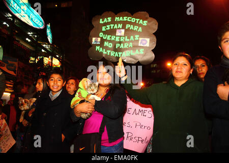 La Paz, Bolivia, 17th April 2015. Animal Rights campaigners march to demand the government passes laws to protect - Stock Photo